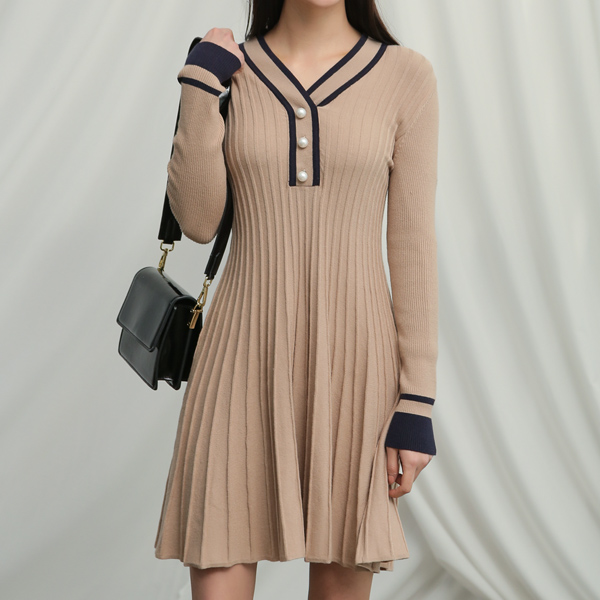 (OP-4122) Pitch & Flare Color key point Knit One Piece