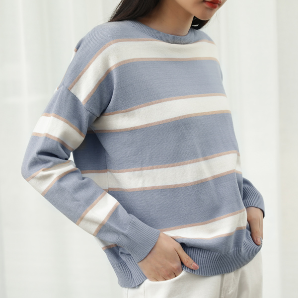 (T-4605) pastel Stripe Knit