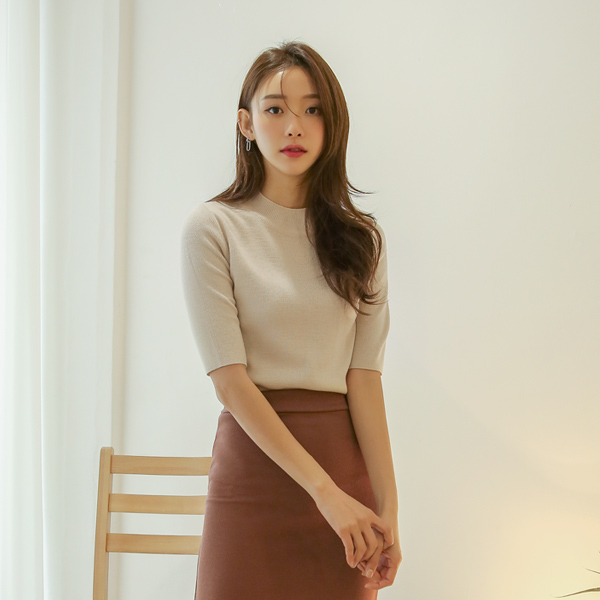 (T-4638) simple Harp Sleeve Knit