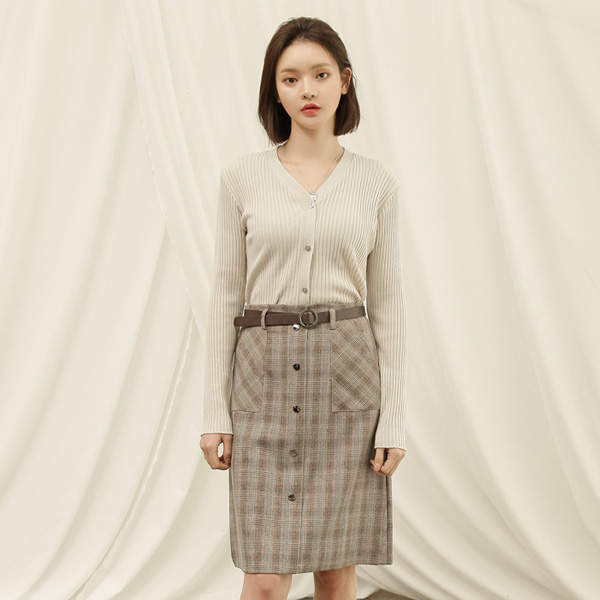 (SK-3285) Check Patterns Belted Midi SkirtS