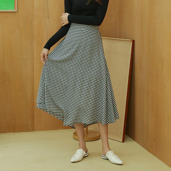 (SK-3309) Check Flare Hul Skirt