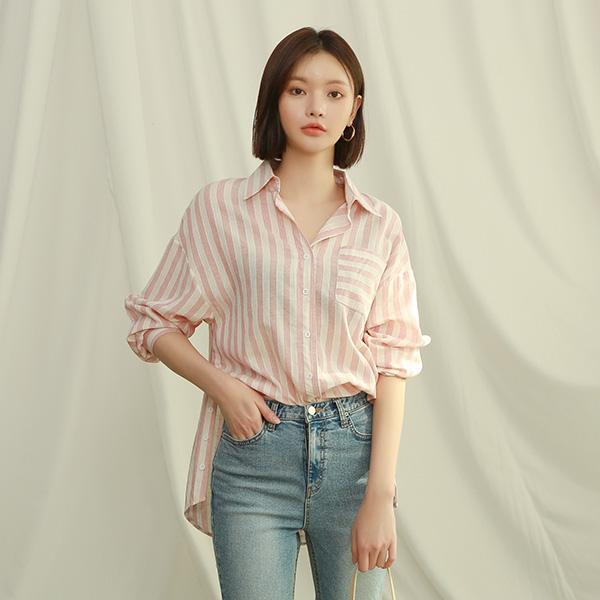 (BL-3204) Stripe Pocket Shirt Blouse