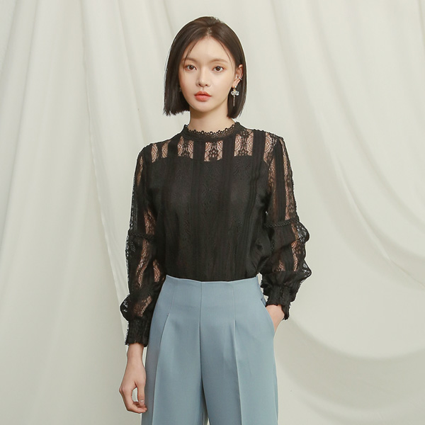 (BL-3191) lace sheer Blouse