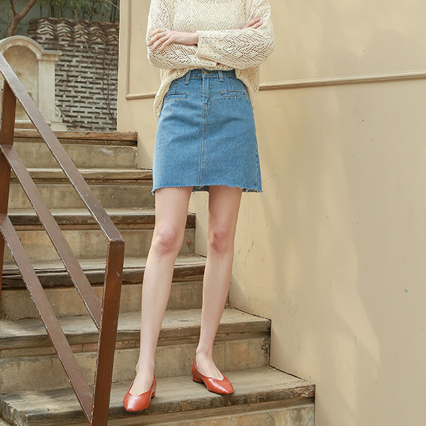 (SK-3313) Lip pocket Mini Denim Skirt