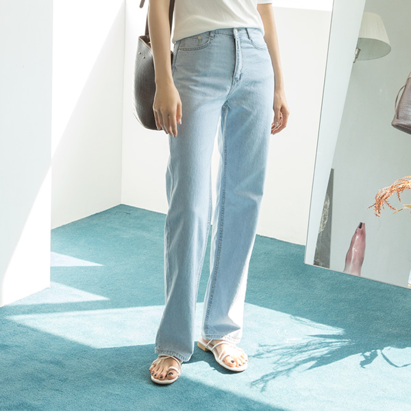 (PT-3763) Summer Long Wide Denim Pants