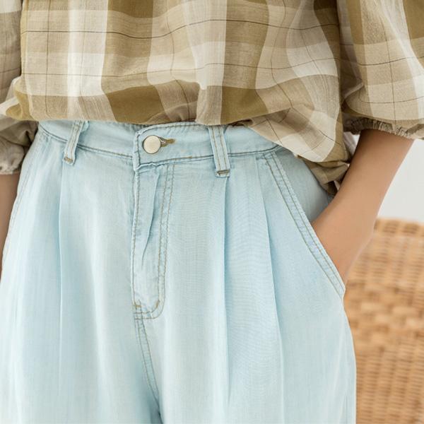 (PT-3863) Natural Denim Warp Pants