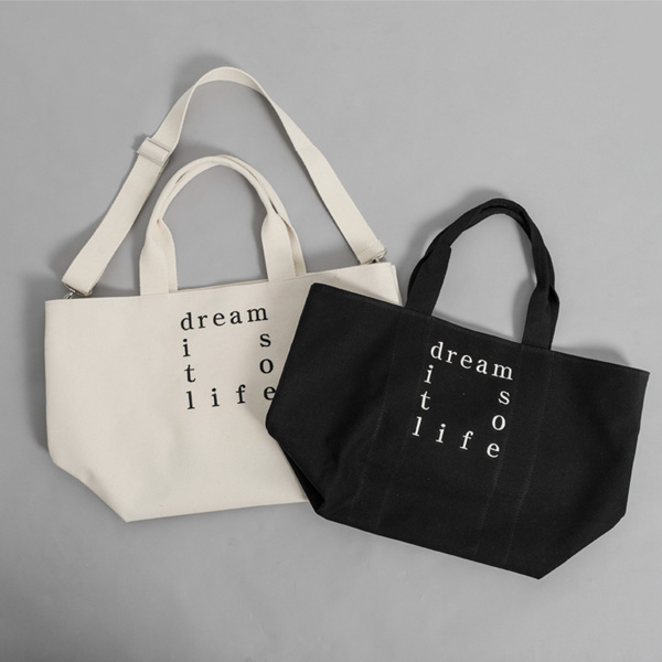 (B-2013) Embroidery Lettering Canvas Shopper Bag