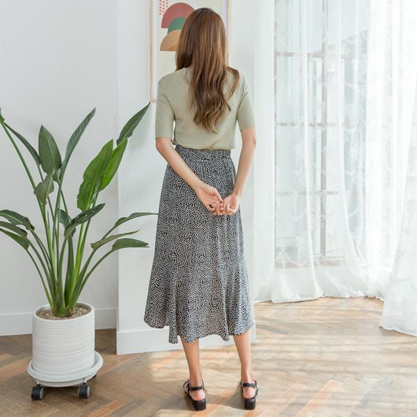 (SK-3568) leaf Floral Flare Skirt