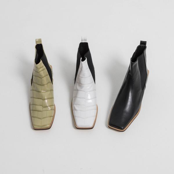 (SH-2849) Crocodile Patterns Square Toe Chelsea Boots