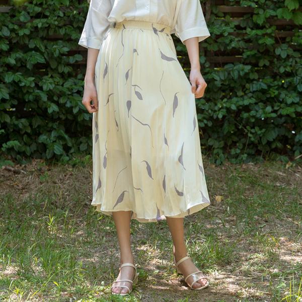 (SK-3469) leaf Patterns Pleats Skirt