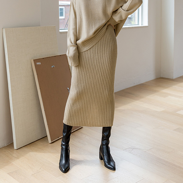 (SK-3624) Ribble Hline Corrugated Knit Skirt