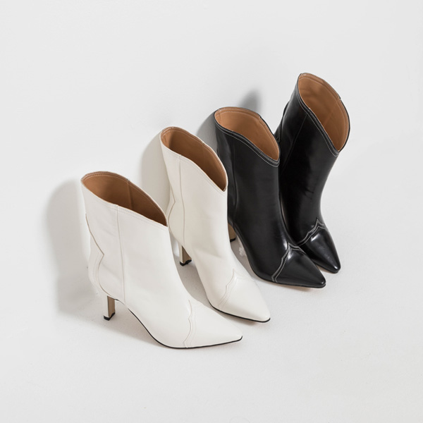 (SH-2860) line stitch Western Ankle Boots Heel