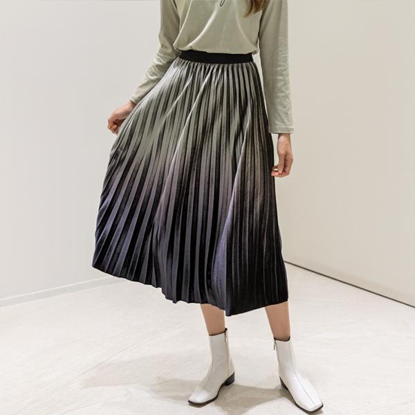 (SK-3606) Gradation Velvet Pleats Skirt