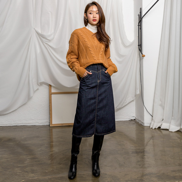 (SK-3649) Selby Line Denim Skirt