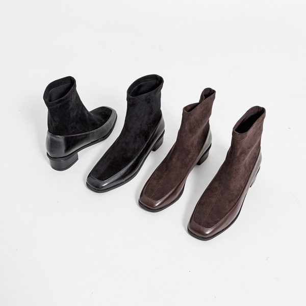 (SH-2833) Fabric Mixed Ankle Boots