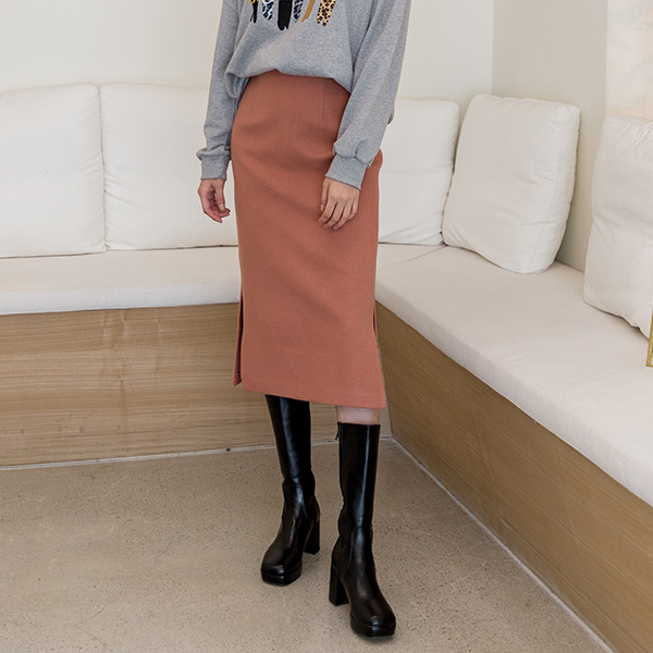 (SK-3548) Solid Midi H Fit Skirt