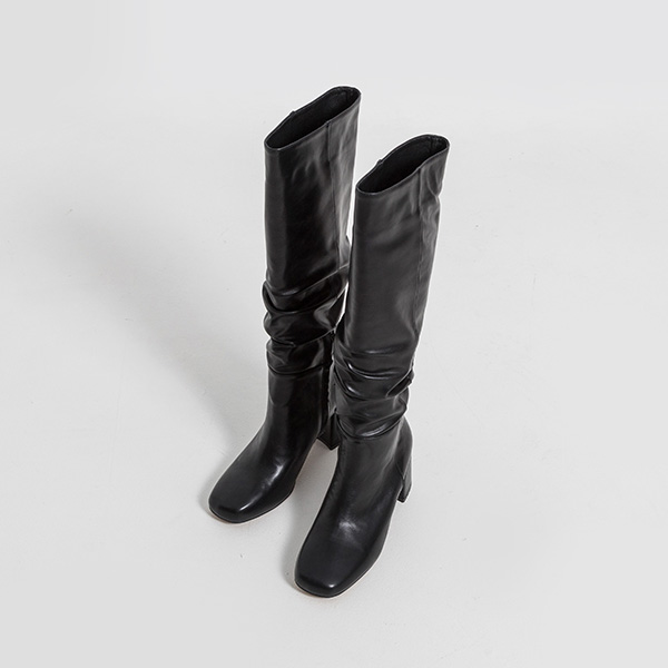 (SH-2895) shirring Chunky Hill Long Boots