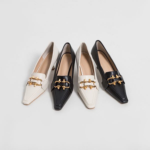 (SH-2902) Gold ring Middle heel Pump