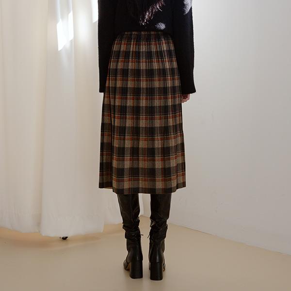 (N-SK-3690) Check Wrinkles Banding Skirt