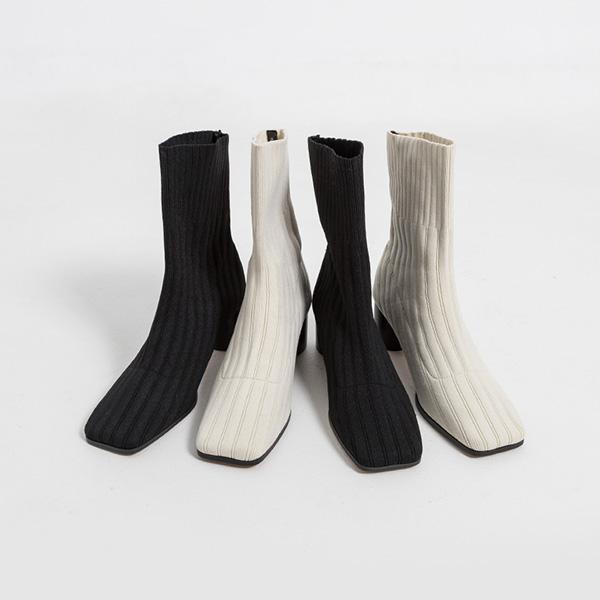 (SH-2906) Square Knit Sox Boots