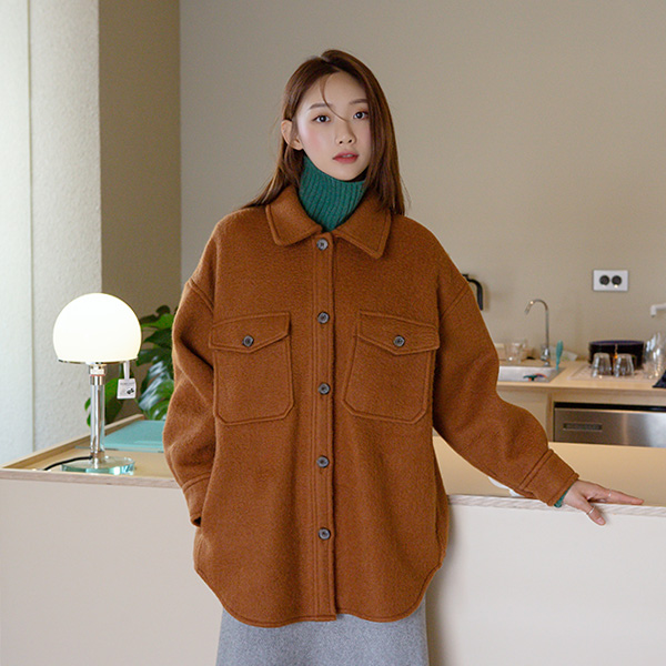 (JK-2154) Wool Buckle Soft Shirt Jacket