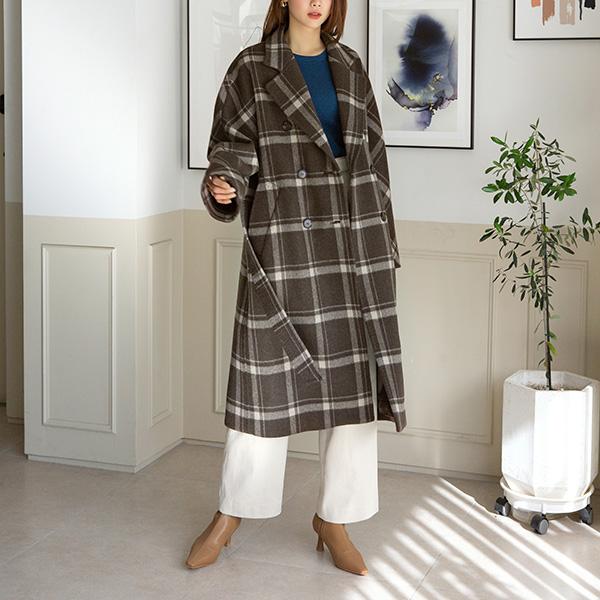 (CT-1275) Wool stitch Check CoatS