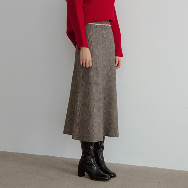 (N-SK-3691) Herringbone Knit Flare Long Skirt