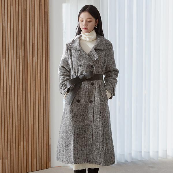 (N-CT-1264) Wool Herringbone Leather Belt CoatS