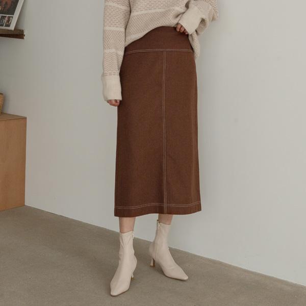 (SK-3739) Wool Stitch Detail Skirt