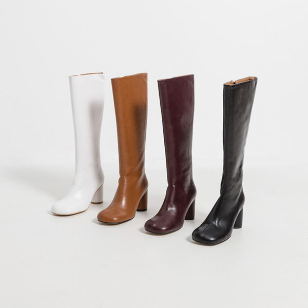 (SH-2911) Rounded Toe Long Boots Heel