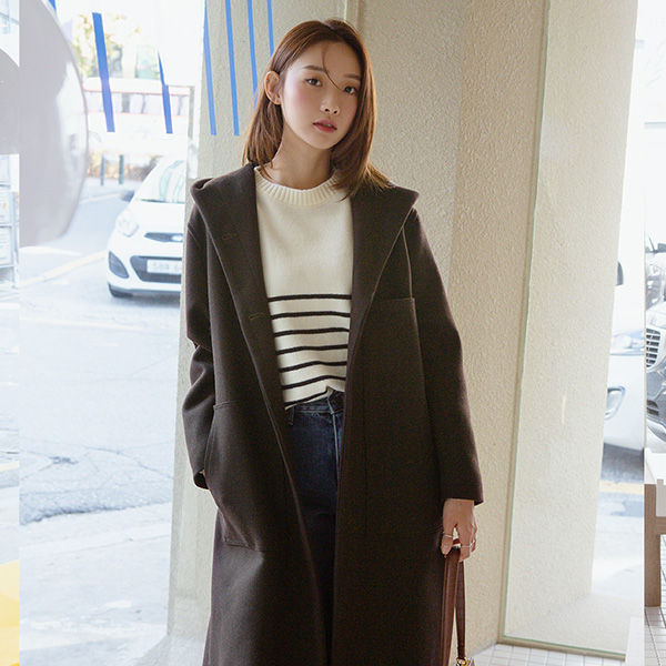 (CT-1274) Wool Casual Hood Coat