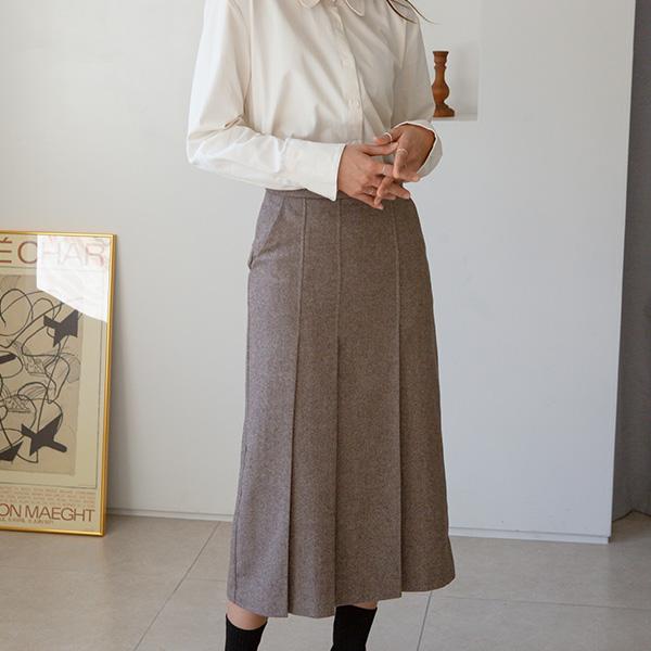 (SK-3741) Wool Classic Pleats Skirt