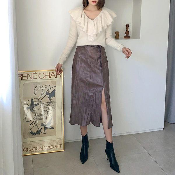 (SK-3740) Belt Leather Banding Skirt
